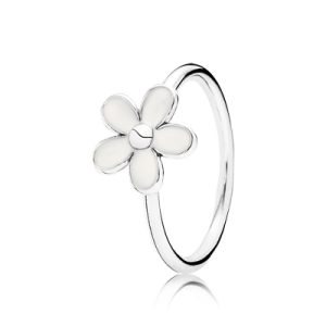 Pandora Daisy silver ring with white enamel image