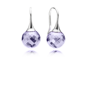 pandora Faceted silver earrings with lavender cubic zirconia earrings image