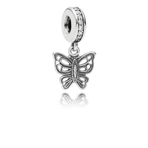 Pandora Openwork Butterfly Silver Dangle with Cubic Zirconia Charm image