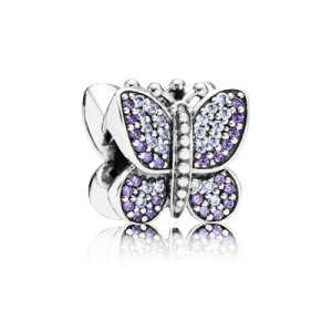 Pandora Pave butterfly silver charm with purple and lavender cubic zirconia charm image