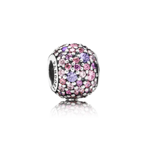 Pandora Pave silver charm with mixed shades of pink and purple cubic zirconia image